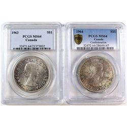 1963 & 1964 Canada Silver $1 PCGS Certified MS-64. 2pcs