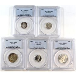 1949-1964 Canada 10-cent & 25-cent PCGS Certified MS-64 - 1949 10-cent, 1951 10-cent, 1961 10-cent,