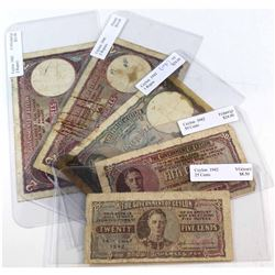 1941,1942 & 1943 Ceylon Banknotes, Grade ranges from VG to VF. Notes contain various impairments. 5p