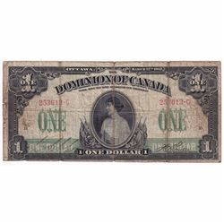 1917 $1 DC-23a Dominion of Canada Boville Banknote.