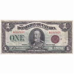 """1923 $1 DC-25I Dominion of Canada """"Bronze Seal, Group 2"""" McCavour-Saunders Banknote."""