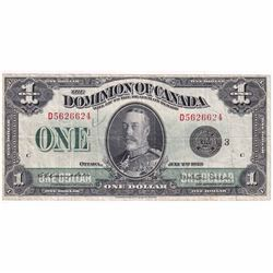 """1923 $1 DC-25n Dominion of Canada """"Black Seal, Group 3"""" Campbell-Sellar Banknote."""