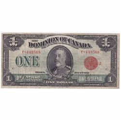 """1923 $1 DC-25g Dominion of Canada """"Red Seal 2"""" McCavour-Saunders Banknote F-VF (Glue)"""