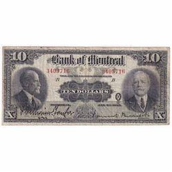 1923 $10 505-56-02 Montreal Banknote VG-Fine (Damaged)