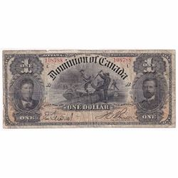 """1898 $1 DC-13c Dominion of Canada Boville series """"L"""" Banknote VG (tears)"""