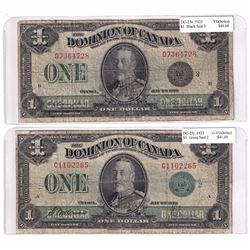 Pair of 1923 $1 Dominion of Canada Banknotes DC-25J Green seal 2 G-VG (holes) & DC-25n Black Seal 3