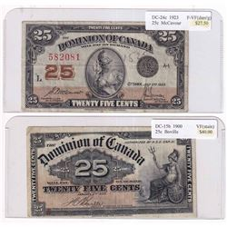 Pair of 25-cent Shinplaster Banknotes: 1900 DC-15b Boville VF (stain) & 1923 DC-24c McCavour F-VF (D