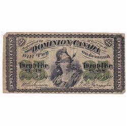 1870 25-cent DC-1c Dominion of Canada Plain Series Fine (holes)