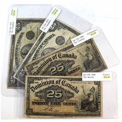 1900 & 1923 25-cent Shinplaster Dominion of Canada Notes: 1900 DC-15b Boville, 1900 DC-15a Courtney