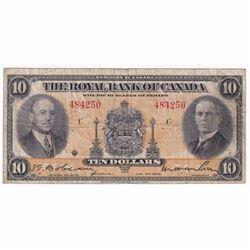 1935 $10 630-18-04a Royal Bank of Canada Large Signature note VG-F (damaged)