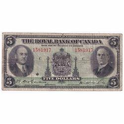 1935 $5 630-18-02a Royal Bank of Canada Note VG (tear)