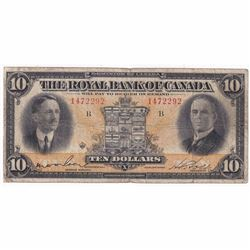 1927 $10 630-14-08 Royal Bank of Canada Note Wilson Signature VG (tear)