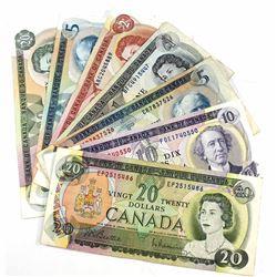 7x 1969-1979 Bank of Canada Notes: 1969 $20 Beattie-Rasminsky EP, 1971 $10 Thiessen-Crow FDE, 1972 $