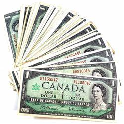 1967 $1 Bank of Canada Notes. 89pcs