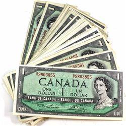 1954 $1 Bank of Canada Notes. 52pcs