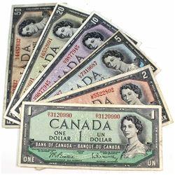 1954 Canada $1, $2, $5, $10, $20 $ $50 Beattie-Rasminsky Banknotes. 6pcs