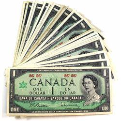 42x 1867-1967 $1 Bank of Canada Centennial Banknotes. 42pcs