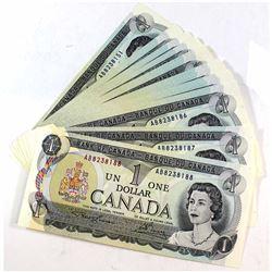 1973 $1 Bank of Canada Lawson-Bouey Consecutive Banknotes. 38pcs