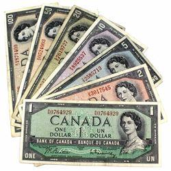 1954 Canada $1, $2, $5, $10, $20, $50 & $100 Banknotes. 7pcs