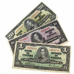 1937 Bank of Canada $1, $10 & $20. 3pcs