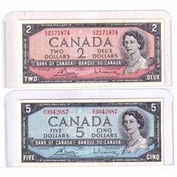 1954 $5 BC-38c Bank of Canada, Bouey-Rasminsky, CG Prefix Note & 1954 $5 BC-39c Bouey-Rasminsky, SX