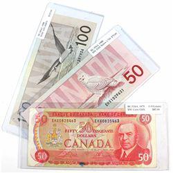 3x Canada $50 & $100 Replacement notes: 1975$50 BC-51bA, Crow-Bouey, EHX Prefix, 1988 $50 BC-59aA, E
