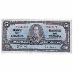 1937 $5 BC-23b Bank of Canada, Gordon-Towers, M/C Prefix VF (washed)