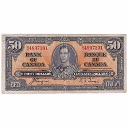1937 $50 BC-26c, Bank of Canada, Coyne-towers, B/H Prefix VF-EF