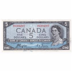 1954 $5 BC-31a, Bank of Canada, Coyne-Towers, Devil's Face, A/C Prefix VF-EF (stained)