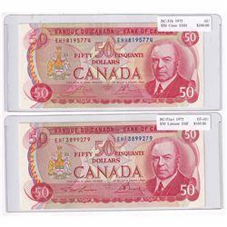 1975 $50 BC-51a-I, Bank of Canada, Lawson-Bouey, EHF Prefix EF-AU & 1973 $50 BC-51b, Crow-Bouey, EHH