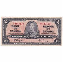1937 $2 BC-22c, Bank of Canada, Coyne-Towers, B/R Prefix, VF (damaged)
