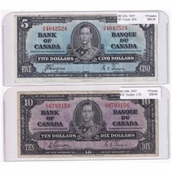 1937 $5 BC-23c, Bank of Canada, Coyne-Towers, HS Prefix VF & 1937 $10 BC-24b Gordon-Towers, C/D Pref