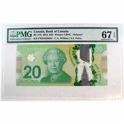 2012 $20 BC-71b, Bank of Canada, Wilkins-Poloz, Printer: CBNC-polymer, FWF Prefix PMG Certified GUNC