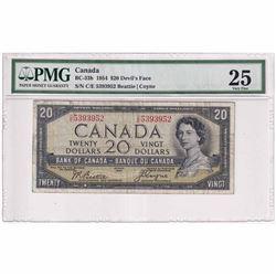 1954 $20 BC-33b, Bank of Canada, Beattie-Coyne, Devil's Face, C/E Prefix PMG Certified VF-25