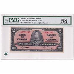1937 $2 BC-22b, Bank of Canada, Gordon-Towers, Printer: BABN. E/B Prefix About CUNC-58