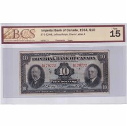 1934 $10 375-22-08, Jaffray-Rolph, Check Letter A BCS Certified F-15 (Tears)