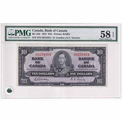 1937 $10 BC-24b, Bank of Canada, Gordon-Towers, Printer BABN, XD Prefix PMG Certified CUNC-58 EPQ