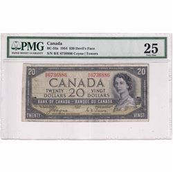 1954 $20 BC-33a, Bank of Canada, Coyne-Towers, Devil's Face, B/E Prefix PMG Certified VF-25
