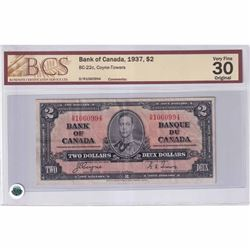 1937 $2 BC-22c, Bank of Canada, Coyne-Towers, D/R Prefix, BCS Certified VF-30