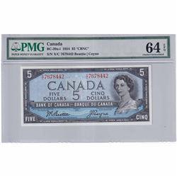 1954 $5 BC-39a-I, Bank of Canada, Beattie-Coyne, CBNC, XC Prefix PMGC Certified CUNC-64