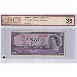 1954 $10 BC-32a, Bank of Canada, Coyne-Towers, Devil's Face, D/D Prefix BCS Certified VF-35