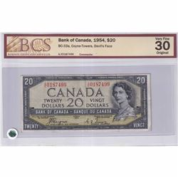 1954 $20 BC-33a, Bank of Canada, Coyne-Towers, Devil's Face, A/E Prefix BCS Certified VF-30
