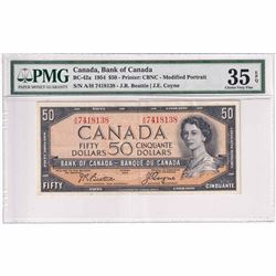 1954 $50 BC-42a, Bank of Canada, Beattie-Coyne, Printer: CBNC-Modified Portrait, AH Prefix PMG Certi
