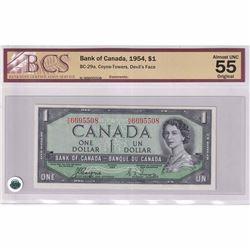 1954 $1 BC-29a, Bank of Canada Coyne-Towers, Devil's Face, HA Prefix BCS Certified AU-55