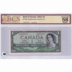 1954 $1 BC-29b Bank of Canada, Beattie-Coyne, Devil's Face, LA Prefix BCS Certified AU-58