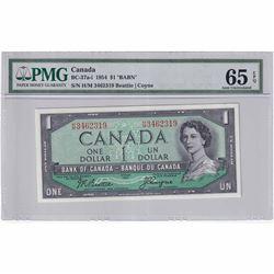 1954 $1 BC-37a-i, Bank of Canada, Beattie-Coyne, BABN, HM Prefix PMG Certified GUNC-65