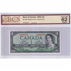 1954 $1 BC-29b, Bank of Canada, Beattie-Coyne, Devil's Face, NA Prefix BCS Certified CUNC-62