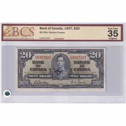 1937 $20 BC-25b, Bank of Canada, Gordon-Towers, E/E Prefix, BCS Certified VF-35