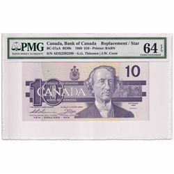 1989 $10 BC-57aA RD9b, Bank of Canada, Thiessen-Crow, Printer: BABN, ADX Replacement PMG Certified C