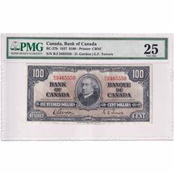 1937 $100 BC-27b, Bank of Canada, Gordon-Towers, Printer: CBNC, BJ Prefix PMG Certified VF-25.